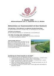 5. Oktober 2008 AktionsIdeen zur ... - Tag der Regionen
