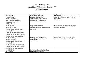 Veranstaltungen 2012 - TagesEltern Fellbach und Kernen eV