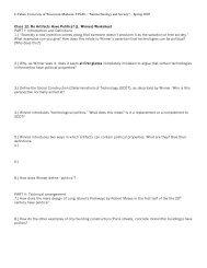 Worksheet on Do Artifacts Have Politics? - Tahan.com