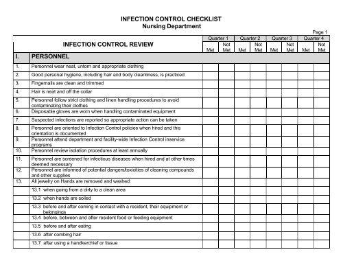 INFECTION CONTROL CHECKLIST Nursing Department