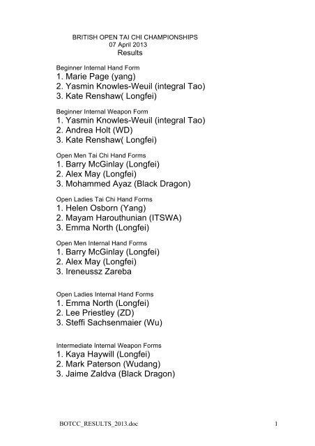 BOTCC Results, pdf - The Tai Chi Union For Great Britain
