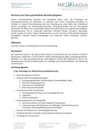 Seminare zum Thema ganzheitliche Maschinendiagnose ...