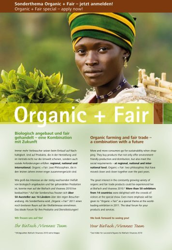 Sonderthema Organic + Fair – jetzt anmelden! Organic + ... - BioFach