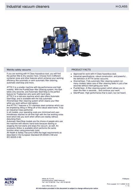 Nilfisk-Blue Line turbina 1200w 230 V Attix e-Motor