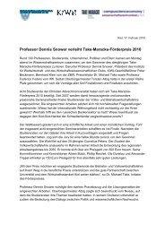 Professor Dennis Snower verleiht Take-Maracke-Förderpreis 2010