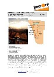 NAMIBIA – ZEIT ZUM GENIESSEN - bei TAKE OFF Erlebnisreisen