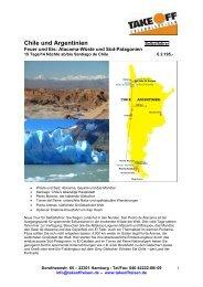 Chile und Argentinien - bei TAKE OFF Erlebnisreisen