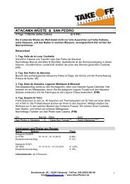 Katalogprogramm 2013 - bei TAKE OFF Erlebnisreisen