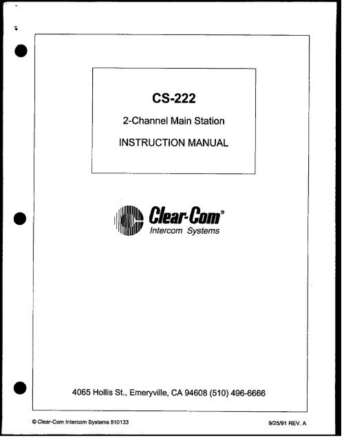 Clear Com CS-222 Two Channel Main Station user manual - Talamas