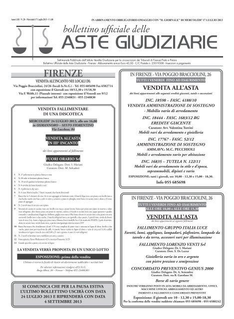ottima vestibilità grande sconto migliore vendita ASTE GIUDIZIARIE - ISVEG Firenze