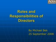 Roles and Responsibilities of Directors - ACRA