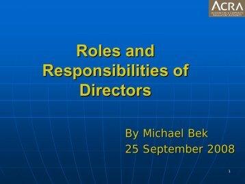 Roles and Responsibilities of Directors - ACRA