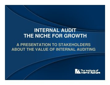INTERNAL AUDIT THE NICHE FOR GROWTH - ACRA