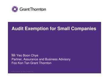 Audit Exemption for Small Companies - Accounting and - ACRA
