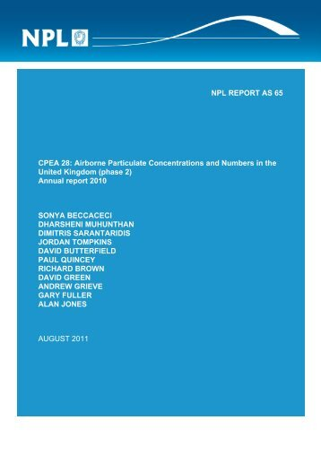 (phase 2) Annual report 2010 - UK-Air - Defra