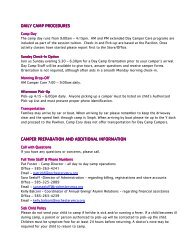 2013 Day Camp Parent Handbook - YMCA of Greater Rochester