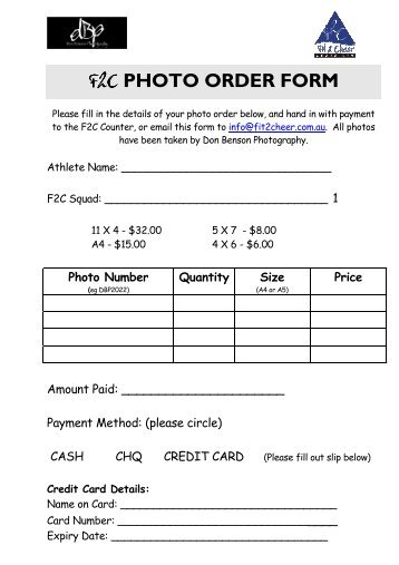 F2C PHOTO ORDER FORM - Fit 2 Cheer