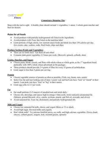 blue horizon resort sample grocery list
