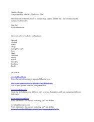 Health websites List prepared by John  Byl, 31 ... - CIRA Ontario