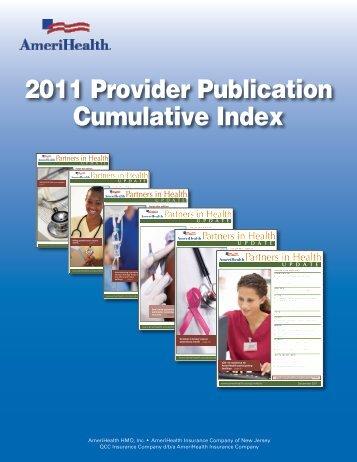 2011 Provider Publication Cumulative Index - AmeriHealth.com
