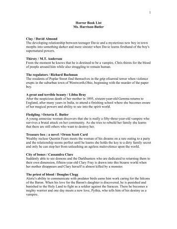 Horror Annotated Book List.doc - Cretin-Derham Hall