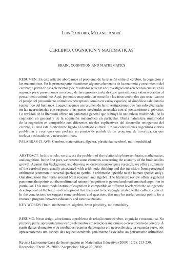 CEREBRO, COGNICIÓN Y MATEMÁTICAS - SciELO