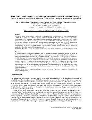 Mechatronic Design using Differential Evolution Strategies - E-journal