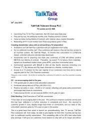 View the full press release in PDF format - TalkTalk Telecom Group ...