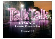 TalkTalk Group Investor Presentation - TalkTalk Telecom Group PLC