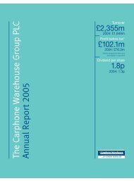 The Carphone Warehouse Group PLC Annual Report 2005