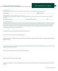 English Teacher Recommendation Form - Tallulah Falls School