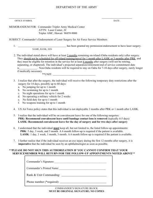 Air Force Commander's Letter - Tripler Army Medical Center