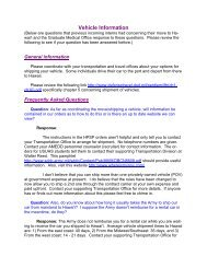 Vehicle Information - Tripler Army Medical Center