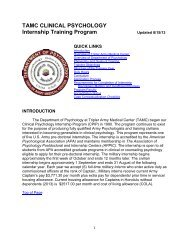 TAMC CLINICAL PSYCHOLOGY Internship Training Program