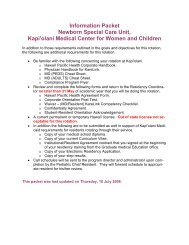 Information Packet Newborn Special Care Unit, Kapi'olani Medical ...
