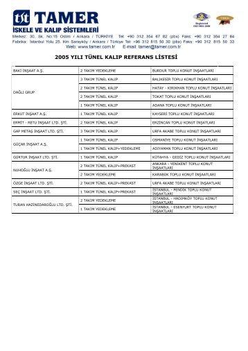2005 yılı tünel kalıp referans listesi - Tamer.com.tr