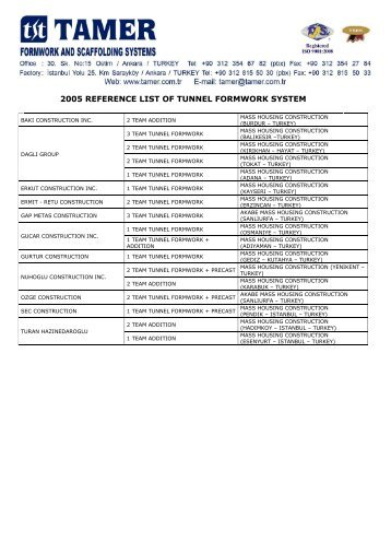 2005 reference list of tunnel formwork system - Tamer.com.tr