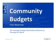 Community Budgets- Ines Newman - Tameside Strategic Partnership