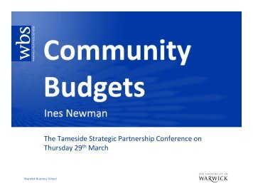 Community Budgets- Ines Newman - Tameside Strategic Partnership