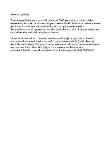 Kivimuseon tehtävät (pdf) - Tampere
