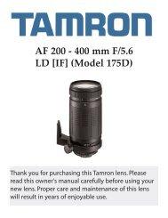 AF 200 - 400 mm F/5.6 LD [IF] (Model 175D) - Tamron