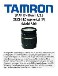 SP AF 17~50 mm F/2.8 XR Di-II LD Aspherical [IF] (Model ... - Tamron