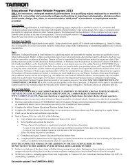 Educational Purchase Rebate Program 2013 - Tamron