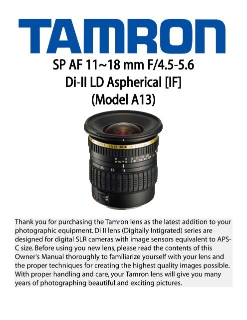 SP AF 11~18 mm F/4.5-5.6 Di-II LD Aspherical [IF] (Model ... - Tamron