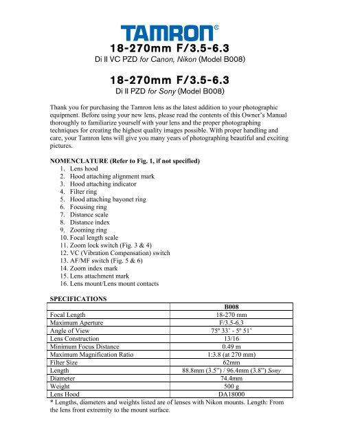 18-270mm F/3.5-6.3 Di II VC PZD (B008) - Tamron