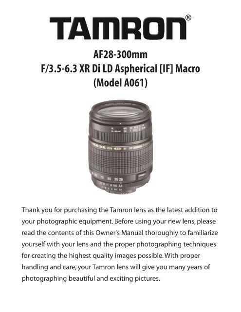 AF28-300mm F/3.5-6.3 XR Di LD Aspherical [IF] Macro ... - Tamron