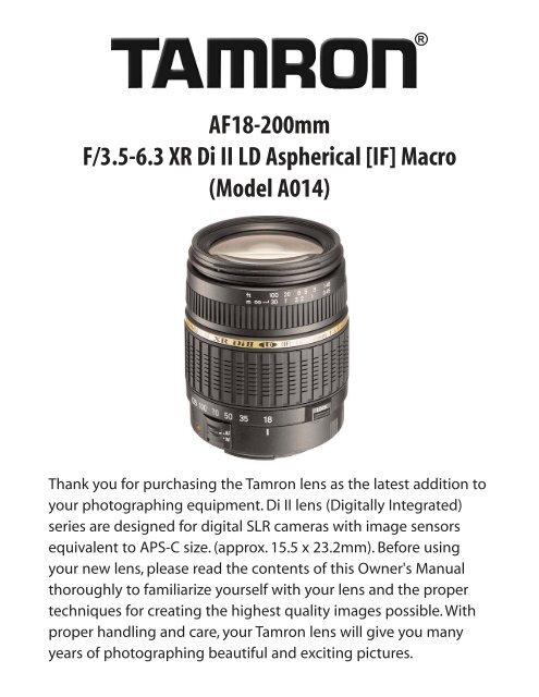 AF18-200mm F/3.5-6.3 XR Di II LD Aspherical [IF] Macro ... - Tamron