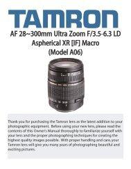 AF 28~300mm Ultra Zoom F/3.5-6.3 LD Aspherical XR [IF ... - Tamron