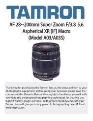 AF 28~200mm Super Zoom F/3.8-5.6 Aspherical XR [IF ... - Tamron