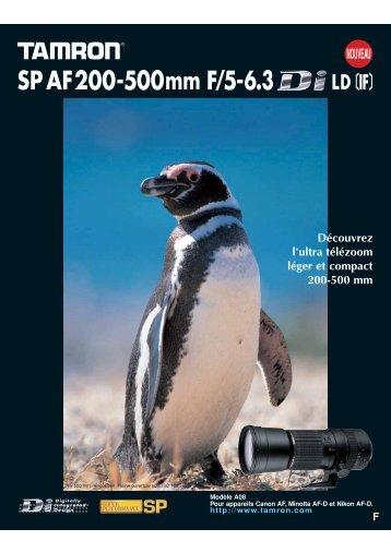 Catalogue 200-500mm F/5-6,3 (Model A08) - Tamron